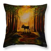 Moose Hideout Throw Pillow