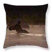 Moose Swim Throw Pillow
