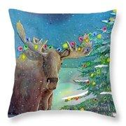 Moosey Christmas Throw Pillow