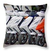 Moped City Throw Pillow