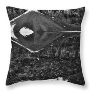 Moraine Lake Reflections - Black And White Throw Pillow