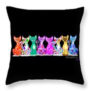 More Colorful Kitties Throw Pillow