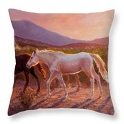 More Than Light Arizona Sunset And Wild Horses Throw Pillow