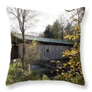 Morgan Bridge Belvidere Junction Vermont Throw Pillow