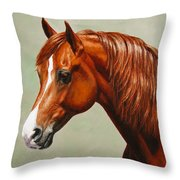 Morgan Horse - Flame - Mirrored Throw Pillow