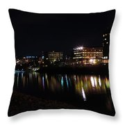 Morgantown Skyline At Night From The Waterfront Throw Pillow