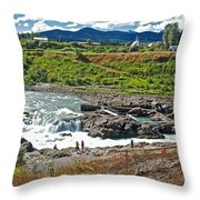 Moricetown Falls And Canyon Fishing Operation On The Bulkley River In Moricetwown-british Columbia  Throw Pillow