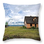 Mormon Row Historic District In Grand Tetons National Park-wyoming Throw Pillow