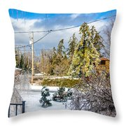 Morning After The Ice Storm Throw Pillow