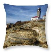 Morning At Beavertail Lighthouse Throw Pillow