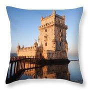 Morning At Belem Tower In Lisbon Throw Pillow
