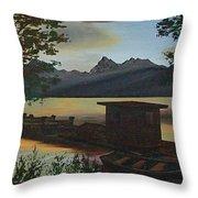 Morning At Lake Mcdonald Glacier Park Throw Pillow