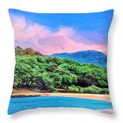 Morning At Papohaku Beach  Throw Pillow