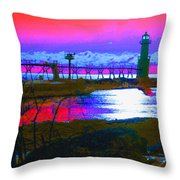 Morning At The Algoma Light An Abstract Throw Pillow