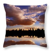 Morning At The Reservoir New York City Usa Throw Pillow