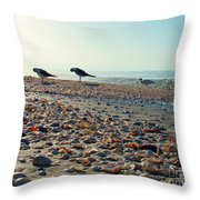 Morning Beach Preen Throw Pillow