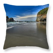 Morning Beach Reflections Throw Pillow