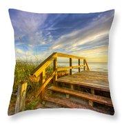 Morning Beach Walk Throw Pillow by Debra and Dave Vanderlaan