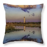 Morning Clouds At Cape May Light Throw Pillow