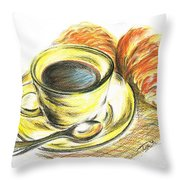 Morning Coffee- With Croissants Throw Pillow
