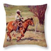 Morning Commute Working Cowboy Western Art Throw Pillow