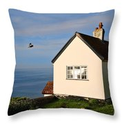 Morning Cottage At Lyme Regis Throw Pillow