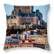 Morning Dawns Over The Chateau Frontenac Throw Pillow