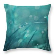 Morning Droplets Throw Pillow by Priska Wettstein