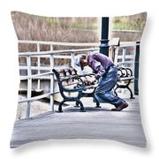 Morning Exercise On The Boardwalk Throw Pillow