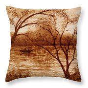Morning Fishing Original Coffee Painting Throw Pillow