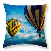 Morning Flight Hot Air Balloons Throw Pillow