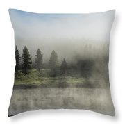 Morning Fog On The Yellowstone Throw Pillow