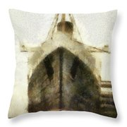 Morning Fog Queen Mary Ocean Liner Bow 03 Long Beach Ca Photo Art 02 Throw Pillow