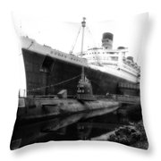 Morning Fog Russian Sub And Queen Mary 02 Bw Throw Pillow
