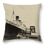 Morning Fog Russian Sub And Queen Mary Heirloom Throw Pillow