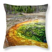 Morning Glory Pool - Yellowstone Throw Pillow
