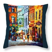 Morning Gossip - Palette Knife Oil Painting On Canvas By Leonid Afremov Throw Pillow