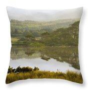 Morning Haze On Lough Bofin Throw Pillow
