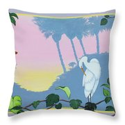 Morning Heron Throw Pillow