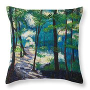 Morning Sunshine In Park Forest Throw Pillow