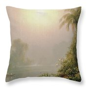 Morning In The Tropics Throw Pillow by Frederic Edwin Church