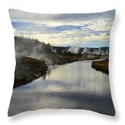 Morning In Upper Geyser Basin In Yellowstone National Park Throw Pillow