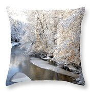 Morning Light Fresh Snowfall Gauley River Throw Pillow