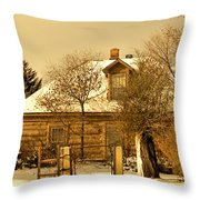 Morning Light Log House Throw Pillow