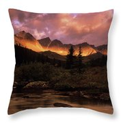 Morning Light Maligne Pass Throw Pillow