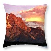 Morning Light On The Tetons Throw Pillow