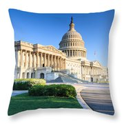 Powerful - Washington Dc Morning Light On Us Capitol Throw Pillow