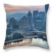 Morning Light Over The City Of Bridges Throw Pillow