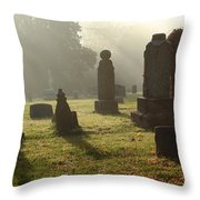 Morning Mist At The Cemetery Throw Pillow