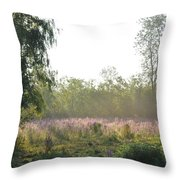Morning Mist In The Pasture Throw Pillow
